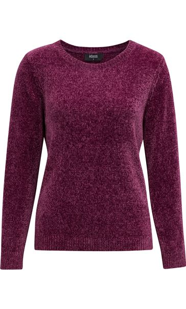 Long Sleeve Chenille Top Grape
