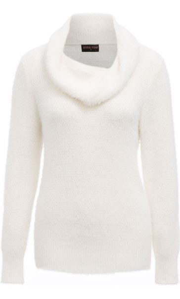 Anna Rose Cowl Neck Soft Knit Top Ivory