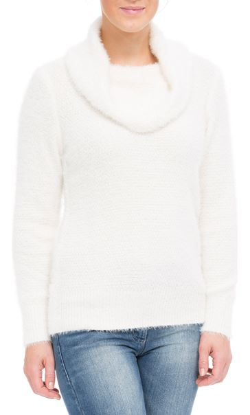 Anna Rose Cowl Neck Soft Knit Top Ivory - Gallery Image 2