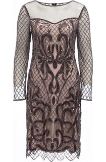 Long Sleeve Embellished Mesh Midi Dress