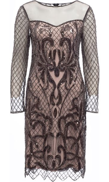 Long Sleeve Embellished Mesh Midi Dress Black/Nude
