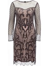Long Sleeve Embellished Mesh Midi Dress Black/Nude - Gallery Image 1