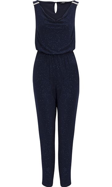 Sleeveless Glitter Cowl Neck Jumpsuit Midnight