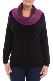 Contrast Cowl Neck Knitted Top