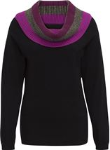 Contrast Cowl Neck Knitted Top Black - Gallery Image 1