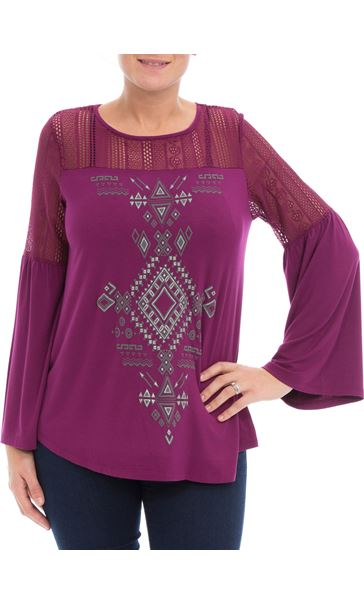 Lace Trim Jersey Top Grape