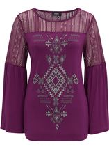 Lace Trim Jersey Top Grape - Gallery Image 2