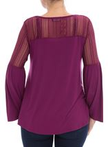 Lace Trim Jersey Top Grape - Gallery Image 3