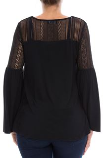 Lace Trim Jersey Top - Black