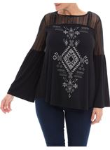 Lace Trim Jersey Top Black - Gallery Image 1