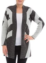 Geometric Knitted Cardigan Greys - Gallery Image 2
