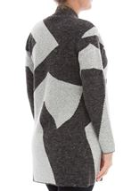 Geometric Knitted Cardigan Greys - Gallery Image 3