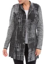 Long Sleeve Blanket Stitch Open Cardigan Greys - Gallery Image 2