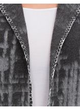 Long Sleeve Blanket Stitch Open Cardigan Greys - Gallery Image 4
