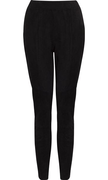 Suedette Fitted Trousers Black