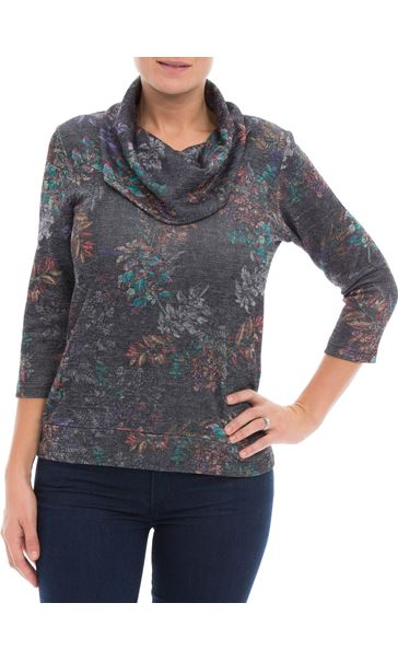 Printed Cowl Neck Top Black/Multi