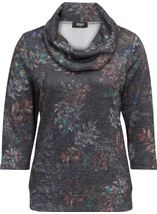 Printed Cowl Neck Top Black/Multi - Gallery Image 2