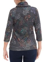 Printed Cowl Neck Top Black/Multi - Gallery Image 3