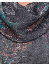 Printed Cowl Neck Top Black/Multi - Gallery Image 4