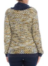 Cowl Neck Feather Knit Top White/Navy/Pistachio - Gallery Image 3