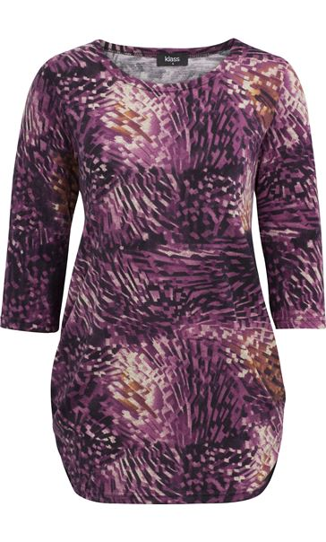 Printed Three Quarter Sleeve Tunic Grape