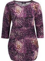 Printed Three Quarter Sleeve Tunic Grape - Gallery Image 1