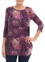 Printed Three Quarter Sleeve Tunic Grape - Gallery Image 2