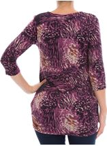 Printed Three Quarter Sleeve Tunic Grape - Gallery Image 3