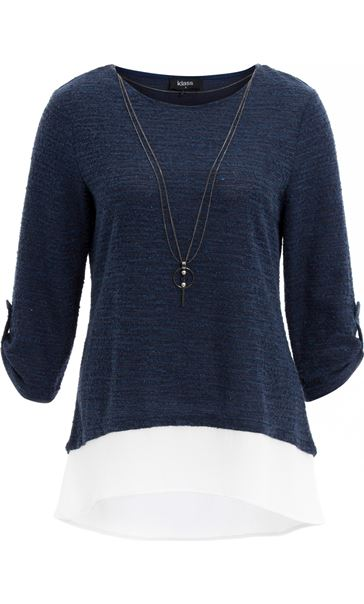 Shimmer Knitted Loose Top With Necklace Midnight