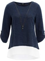 Shimmer Knitted Loose Top With Necklace