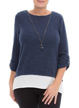 Shimmer Knitted Loose Top With Necklace Midnight - Gallery Image 2