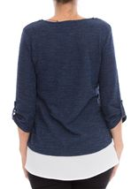 Shimmer Knitted Loose Top With Necklace Midnight - Gallery Image 3