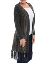 Long Sleeve Fringed Open Cardigan