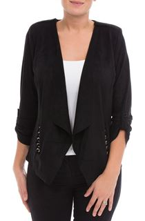 Suedette Open Jacket - Black