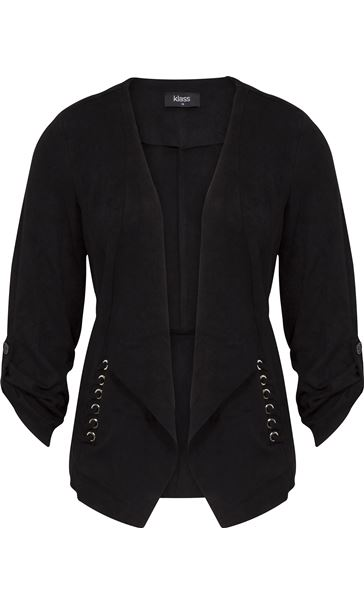 Suedette Open Jacket Black