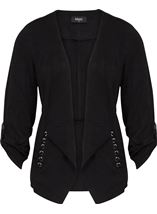 Suedette Open Jacket Black - Gallery Image 1