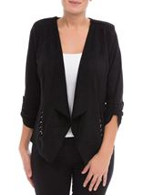 Suedette Open Jacket Black - Gallery Image 2