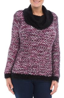 Cowl Neck Feather Knit Top - White/Black/Cerise
