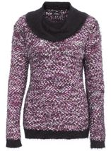Cowl Neck Feather Knit Top White/Black/Cerise - Gallery Image 1
