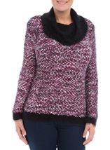 Cowl Neck Feather Knit Top White/Black/Cerise - Gallery Image 2
