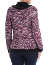 Cowl Neck Feather Knit Top White/Black/Cerise - Gallery Image 3