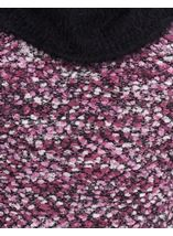 Cowl Neck Feather Knit Top White/Black/Cerise - Gallery Image 4