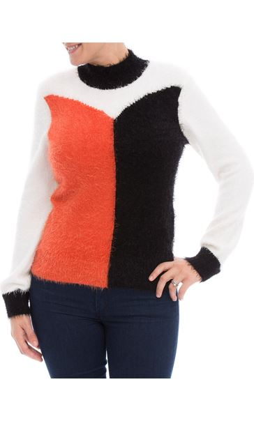 Colour Block Eyelash Knit Top Black/Orange/Cream