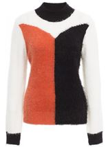 Colour Block Eyelash Knit Top Black/Orange/Cream - Gallery Image 3