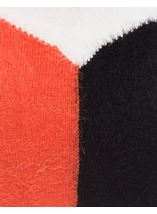 Colour Block Eyelash Knit Top Black/Orange/Cream - Gallery Image 4