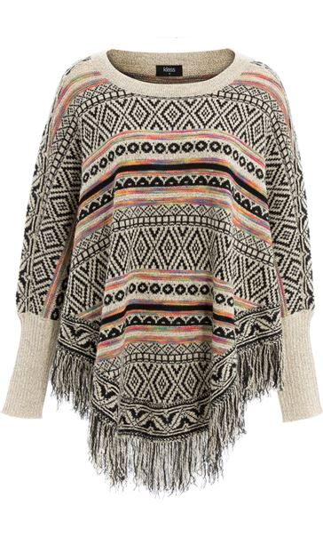 Patterned Knit Sleeved Cape Black/Multi