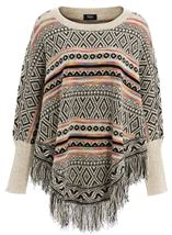 Patterned Knit Sleeved Cape Black/Multi - Gallery Image 1