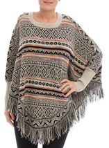 Patterned Knit Sleeved Cape Black/Multi - Gallery Image 2