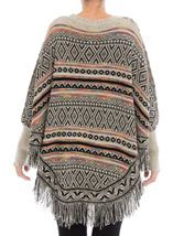 Patterned Knit Sleeved Cape Black/Multi - Gallery Image 3