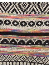 Patterned Knit Sleeved Cape Black/Multi - Gallery Image 4